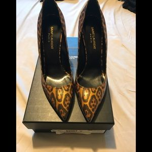 YSL Paris 105m pump in leopard